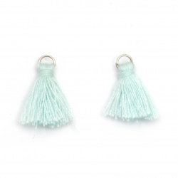 Ciucure textil 16x5 mm cu inel metalic de culoare albastru pal -20 bucăți