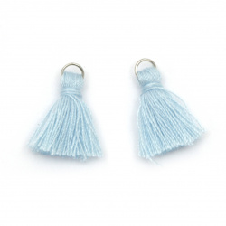 Fabric Tassel 16x5 mm with metal ring color light blue - 20 pieces