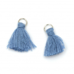 Fabric Tassel16x5 mm with metal ring color blue - 20 pieces