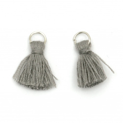 Fabric Tassel 16x5 mm with metal ring gray - 20 pieces