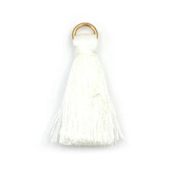 Fabric Tassel 30x6 mm with metal ringl color white - 10 pieces