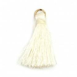 Fabric Tassel 30x6 mm with metal ringl color ecru - 10 pieces