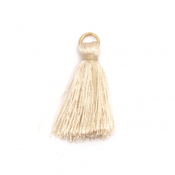 Fabric Tassel 30x6 mm with metal ringl color beige - 10 pieces