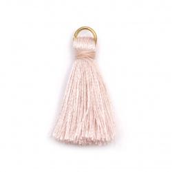 Ciucure textil 30x6 mm cu inel metalic cenușă culoare trandafiri -10 bucăți