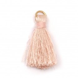 Fabric Tassel 30x6 mm with metal ring color peach - 10 pieces