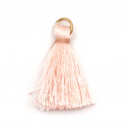 Fabric Tassel 30x6 mm with metal ring color light pink - 10 pieces