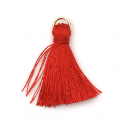 Fabric Tassel 30x6 mm with metal ring color red - 10 pieces