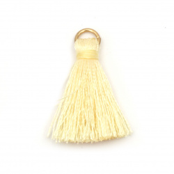 Fabric Tassel 30x6 mm with metal ring color yellow - 10 pieces