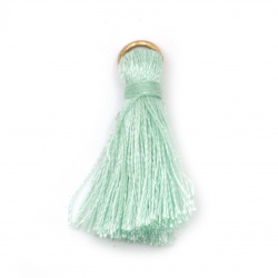Fabric Tassel 30x6 mm with metal ring color mint - 10 pieces