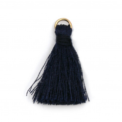 Fabric Tassel 30x6 mm with metal ring color dark blue - 10 pieces