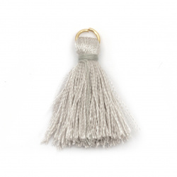 Fabric Tassel 30x6 mm with metal ring color gray - 10 pieces