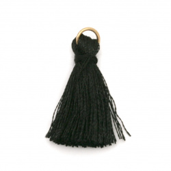 Fabric Tassel 30x6 mm with metal ring color black - 10 pieces