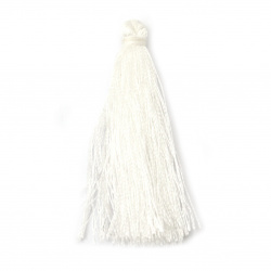 Fabric Tassel 50x5 mm white color - 10 pieces