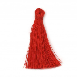 Fabric Tassel 50x5 mm color red - 10 pieces