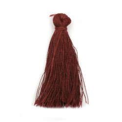 Fabric Tassel 50x5 mm burgundy color - 10 pieces