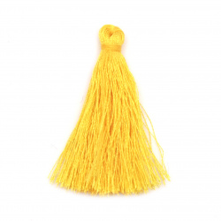 Fabric Tassel 50x5 mm yellow color - 10 pieces
