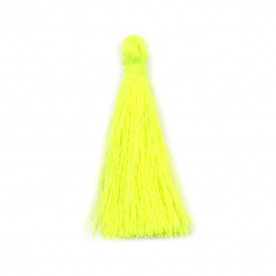 Fabric Tassel 50x5 mm  color yellow electric - 10 pieces