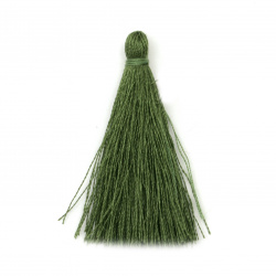 Fabric Tassel 50x5 mm color olive green - 10 pieces