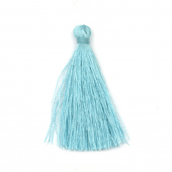 Fabric Tassel 50x5 mm color light blue - 10 pieces