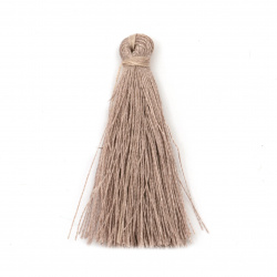 Fabric Tassel 50x5 mm cappuccino color - 10 pieces