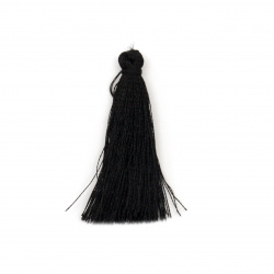 Fabric Tassel 50x5 mm color black - 10 pieces
