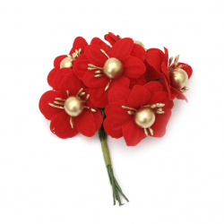 Textile bouquet  Flowers with stamens and pearls 40x100 mm color red, gold - 6 pieces