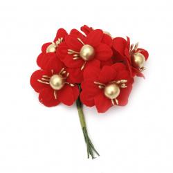Цвете букет текстил тичинки и перла 40x100 мм цвят червен, златен -6 броя