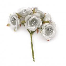 Textile bouquet  Flowers with stamens 40x120 mm color silver - 6 pieces