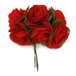 Роза букет текстил 40x100 мм цвят червен -6 броя
