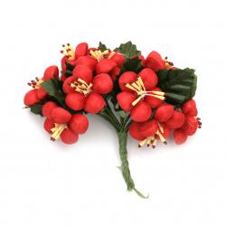 Buchet de primăvară cu flori textile 30x100 mm culoare roșu -10 bucăți