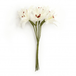 Textile bouquet  Flowers with stamens 45x110 mm color white - 6 pieces