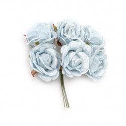 Buchet trandafir textil 50x100 mm culoare albastru -6 bucăți