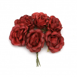 Роза букет текстил 50x100 мм цвят червен -6 броя
