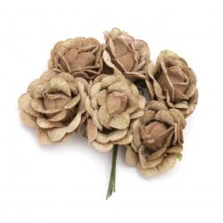 Роза букет текстил 50x100 мм цвят бежов -6 броя