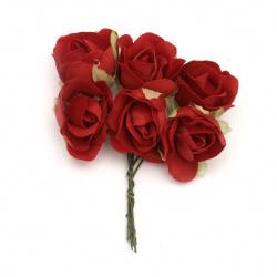 Роза букет текстил 30x100 мм цвят червен -6 броя