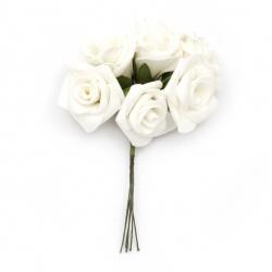 Роза букет гума 40x150 мм цвят бял -6 броя