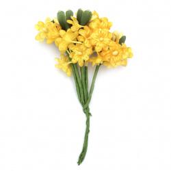 Buchet de flori 20x120 mm culoare galben închis -6 bucăți