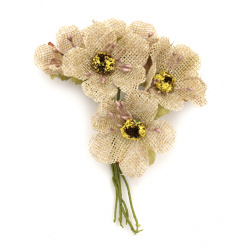 Λουλούδια λινάτσα 50x100 mm σε ματσάκι χρώμα μπεζ -6 τεμάχια