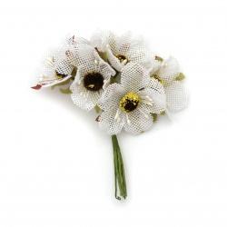 Λουλούδια λινάτσα 50x100 mm σε ματσάκι χρώμα λευκό -6 κομμάτια