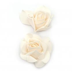 Цвят роза 70x45 мм гума млечна праскова -5 броя
