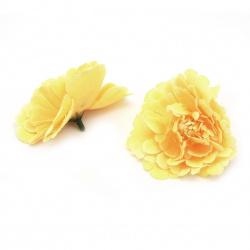 Цвят божур 75 мм с пънче за монтаж жълто оранжев меланж -5 броя