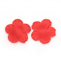 Цвете текстил 40x40 мм за декорация червено -5 грама ~ 60 броя