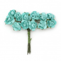 Роза букет хартия и тел 18 мм цвят тюркоаз -12 броя