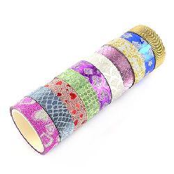 Bandă textilă de 14 mm cu culori ASSORTE autoadezive din brocart -3 metri