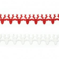 Лента текстил 15 мм самозалепваща мотив КОЛЕДА елени АСОРТЕ цветове -1.82 метра