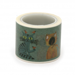 Декоративно тиксо хартия 30 мм котки -5 метра