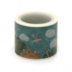 Декоративно тиксо хартия 30 мм птици -5 метра