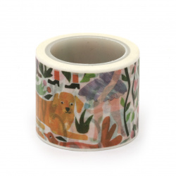 Decorative paper tape 30 mm flowers -5 meters