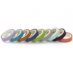 Paper tape for decoration 7.5 mm ASSORTED colors -10 rolls x 5 meters