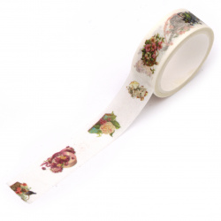 Декоративно тиксо хартия 15 мм Washi Tape YD Classical Art 5 метра -1 брой